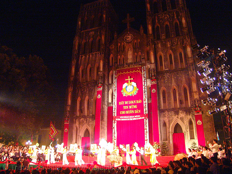 celebration in front of the cathedral - vietnam, cathedral, celebration, church, hanoi, red, religion