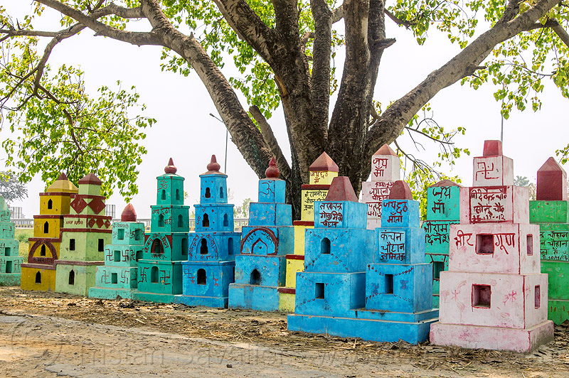 cenotaphs - hindu memorial monuments (india), hinduism, painted, row, tree