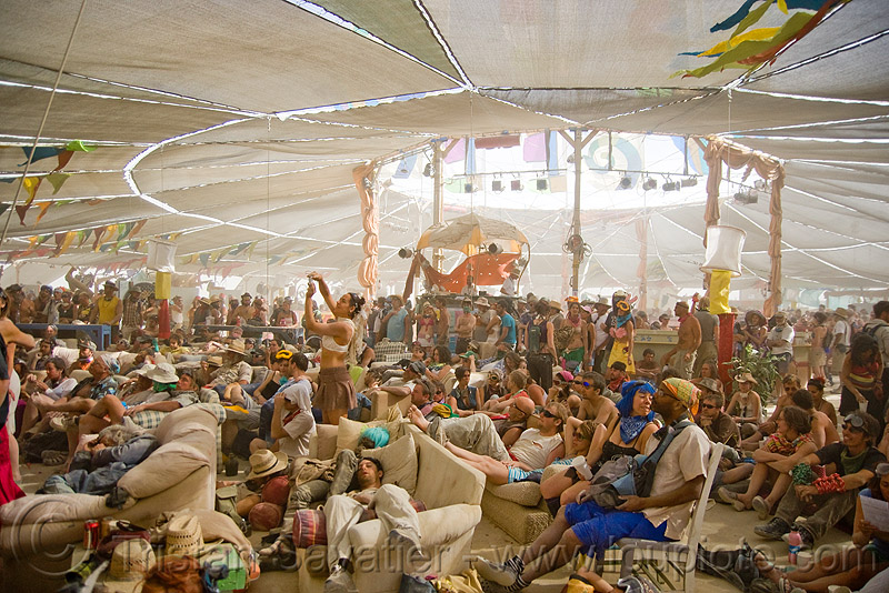 center camp cafe - burning man 2009, crowd, people, tent