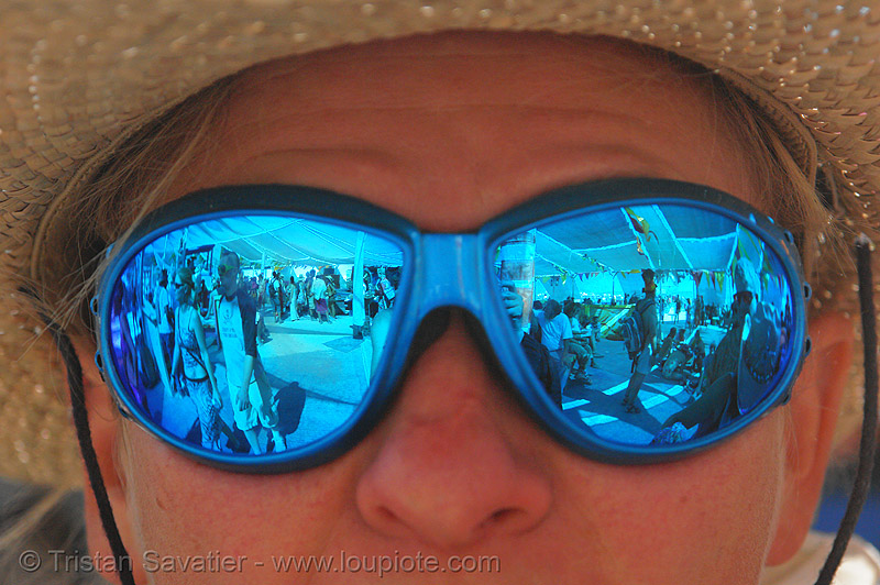 central camp in blue - burning-man 2006, blue, burning man, center camp, goggles, reflection, sunglasses