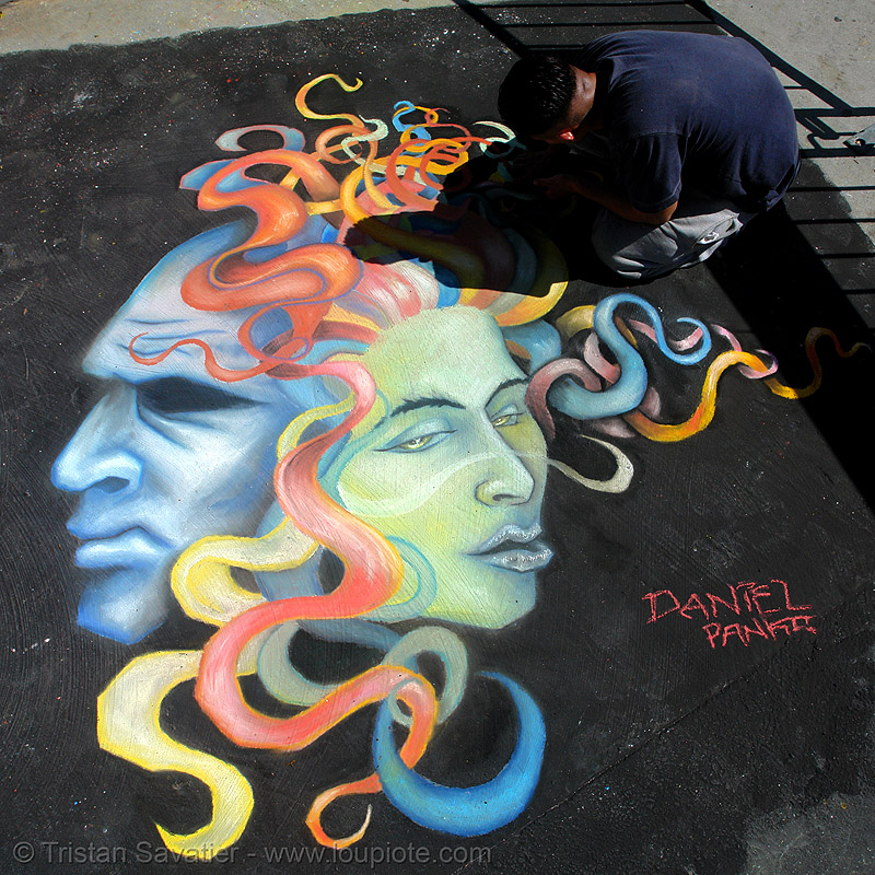 chalk street art, chalk art, curb, daniel panko, drawing, flowing ribbons, graffiti, heads, masks, north beach festival, sidewalk, street art, street painting