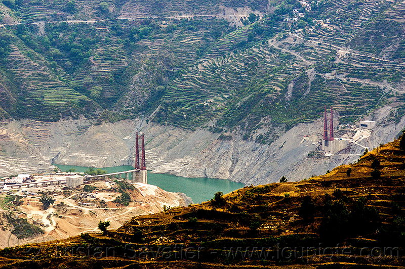 chanthi dobar bridge - construction of a suspension bridge over the bhagirathi river (india), artificial lake, bhagirathi valley, bridge towers, infrastructure, mountains, reservoir, road, tehri lake, tower, water