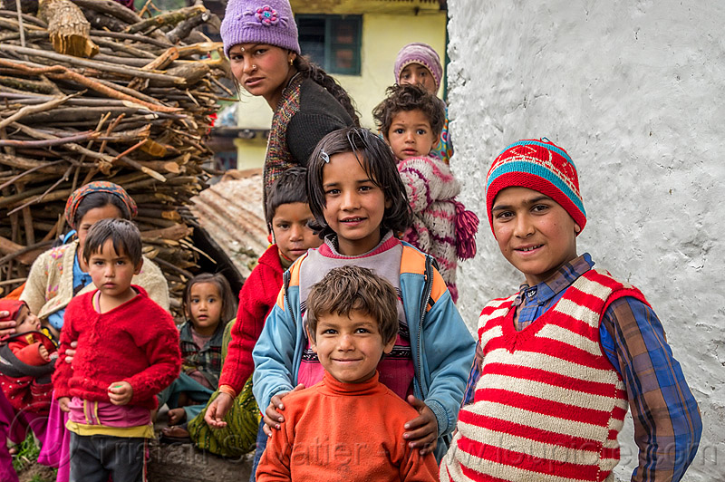 children in himalayan village (india), boys, children, india, janki chatti, kids, knit cap, little girl, village
