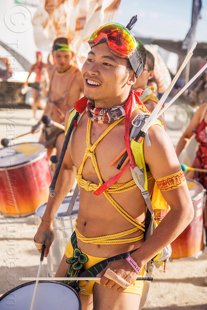 chinese drummer - mazu marching band - burning man 2016, brazilian drums, burning man, drummers, marching band, mazu camp, samba reggae