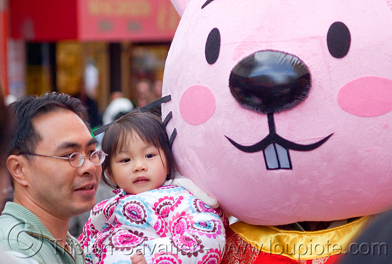 chinese father and kid, cartoon character, child, chinatown, chinese new year, daughter, girl, little girl, lunar new year, man, people, pink