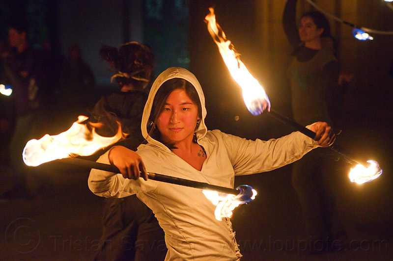 chinese girl spinning double fire staff - mel, fire dancer, fire dancing, fire performer, fire spinning, fire staffs, mel, night, staves double, woman