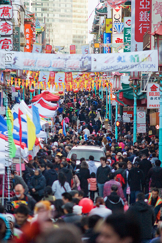 chinese new year festival (chinatown, san francisco), banners, chinatown, chinese new year, crowd, crowded, festival, lunar new year, street