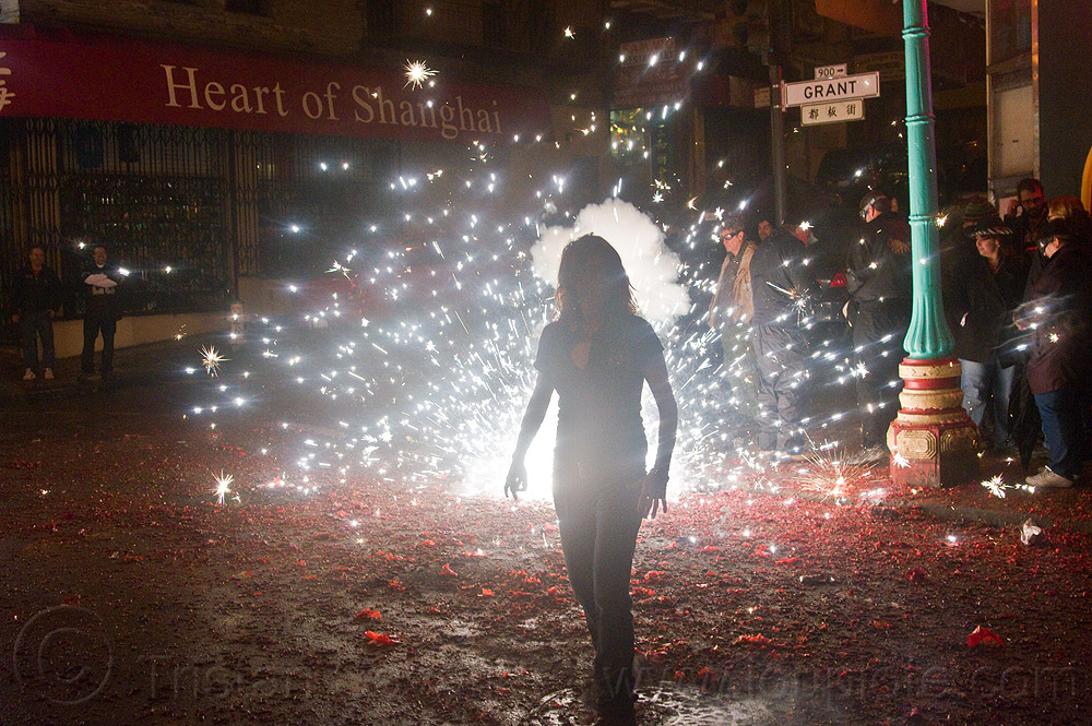 chinese new year in chinatown (san francisco), backlight, chinatown bang, chinese new year, explosion, firecrackers, grant st, heart of shanghai, lunar new year, night, pyrotechnics, silhouette, smoke, sparks, street, woman