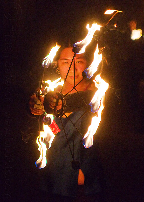 chinese woman with fire fans - mel, fire dancer, fire dancing, fire fans, fire performer, fire spinning, flames, hands, mel, night, woman