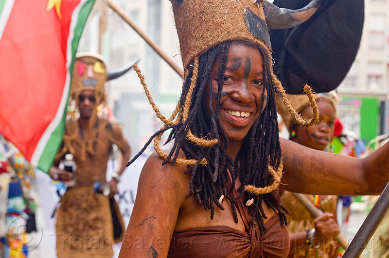 choukaj at the carnaval tropical de paris, caribbean, carnaval tropical, carnival, choukaj, costumes, creole, créole, dancer, dancing, festival, guadeloupe, hat, horns, indigenous culture, parade, paris, traditional, tribal, west indies, woman