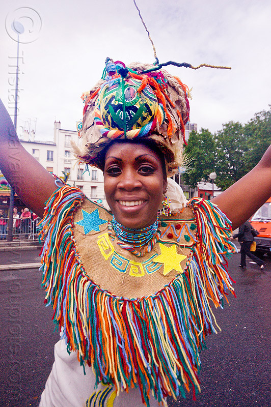 choukaj at the carnaval tropical de paris, caribbean, carnaval tropical, carnival, choukaj, costumes, creole, créole, festival, guadeloupe, hat, indigenous culture, parade, paris, traditional, tribal, west indies, woman