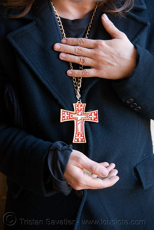 christian beggar - crucifix, beggar, begging, corpus, cross, crucifix, hands, paris, red