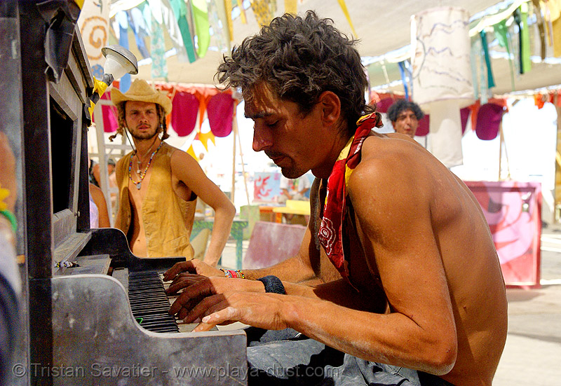 christian breeden playing piano in center camp - burning man 2007, breeden, burning man, center camp, piano player