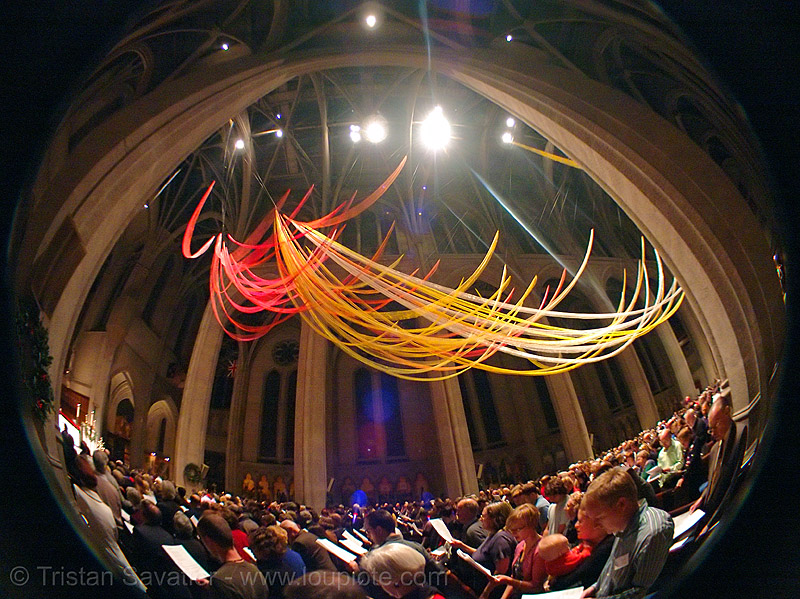 christmas mass at grace cathedral, san francisco, christmas mass, fisheye, grace cathedral san francisco, midnight, streamers, xmas