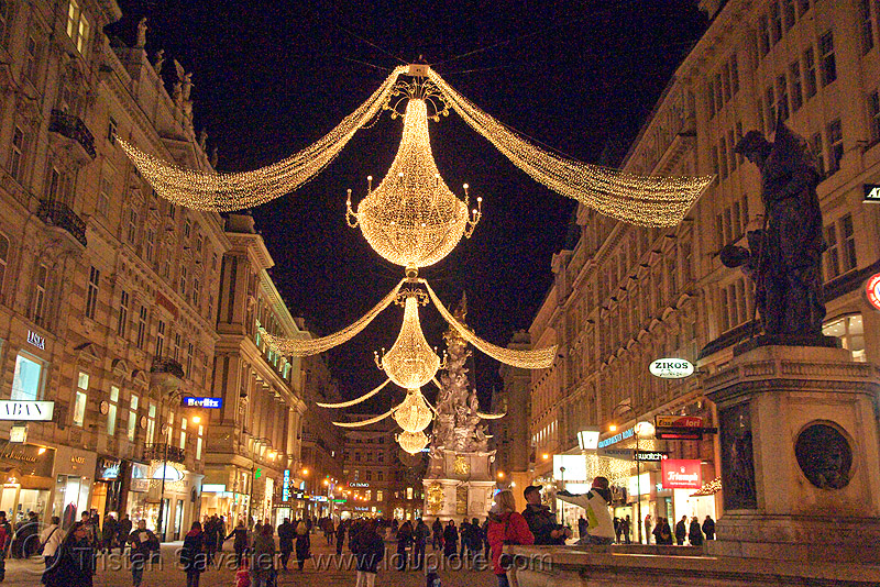 christmas street lights (vienna), christmas decorations, christmas lights, night, pedestrian street, street decorations, vienna, wien