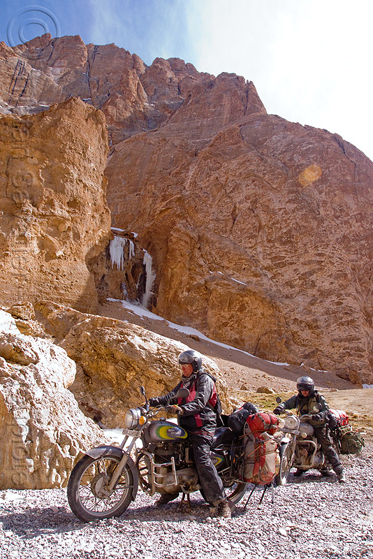 christoph and ben negotiating a difficult nullah before pang - manali to leh road (india), 350cc, ben, christoph, india, ladakh, motorcycle touring, motorcycles, mountains, nullah, river, road, royal enfield bullet, stream