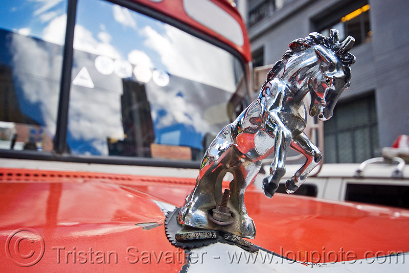 chrome hood ornament mustang stallion - horse, bus, chrome, dodge, hood ornament, horse, la paz, lorry, mustang, stallion, street, truck