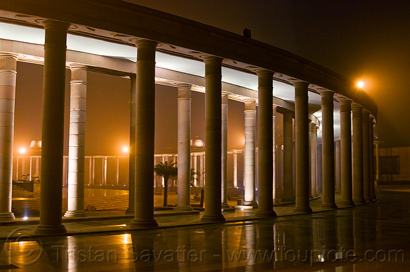 circular column monument - ambedkar memorial, architecture, columns, dr bhimrao ambedkar memorial park, india, lucknow, monument, night