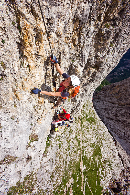 cliff climbing in the dolomites, alps, cliff, climber, climbing harness, climbing helmet, dolomites, dolomiti, ferrata tridentina, mountain climbing, mountaineer, mountaineering, mountains, rock climbing, vertical, via ferrata brigata tridentina, woman
