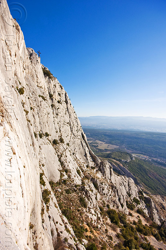 cliff, aix-en-provence, cross, france, la croix de provence, montagne sainte victoire, mountain, rock, sheer cliff
