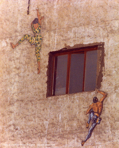 climbers - mural - paint - painting - wall - window, les frigos de paris, mural, paint, painting, street art, wall, window, zac