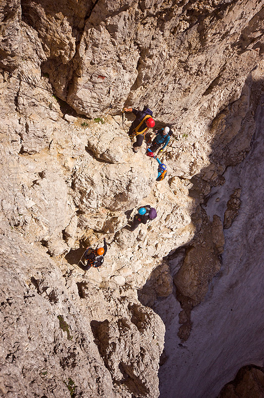 climbers on passo santner via ferrata - dolomites, alps, climbing, climbing helmet, dolomiti, ferrata santner, mountain climbing, mountaineer, mountaineering, mountains, people, rock climbing, via ferrata del passo santner