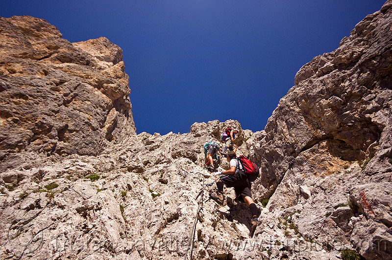 climbing the scalette via ferrata - dolomites, alps, climbers, dolomites, dolomiti, mountain climbing, mountaineer, mountaineering, mountains, rock climbing, via ferrata, via scalette