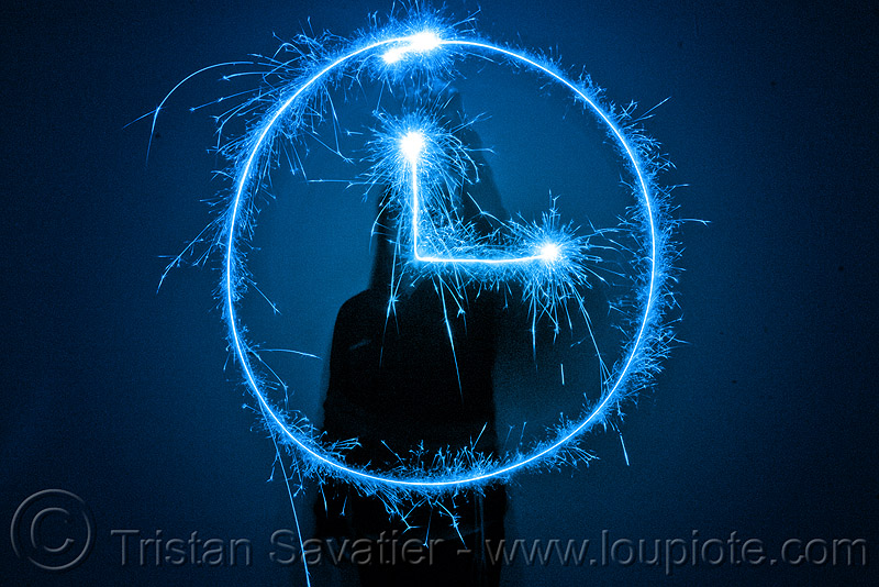 clock - light painting with a blue sparkler, blue, clock, dark, icon, light drawing, light painting, sarah, shadow, silhouette, sparklers, sparkles, symbol, time