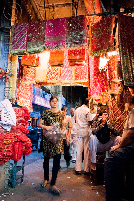 cloth store - street - delhi (india), bazar, cloth, delhi, fabric, night, store, street