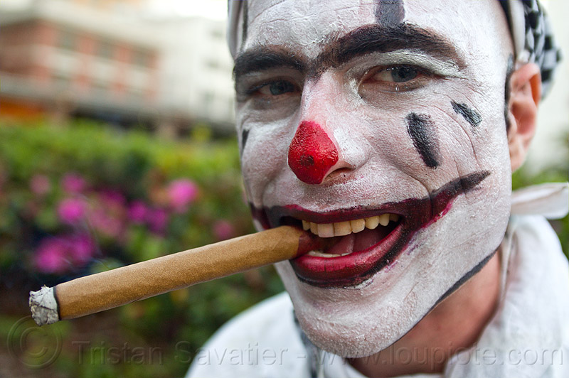 clown smoking cigar, cigar, clown makeup, face-paint, fire dancer, fire dancing expo, fire performer, man, smoking, temple of poi