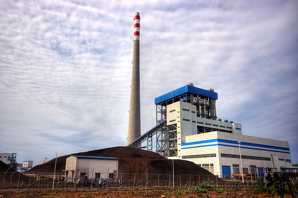 coal-burning power plant, coal fired, electricity, energy, factory, heap, industrial, java, paiton complex, power generation, power station, smoke stack, stockpile