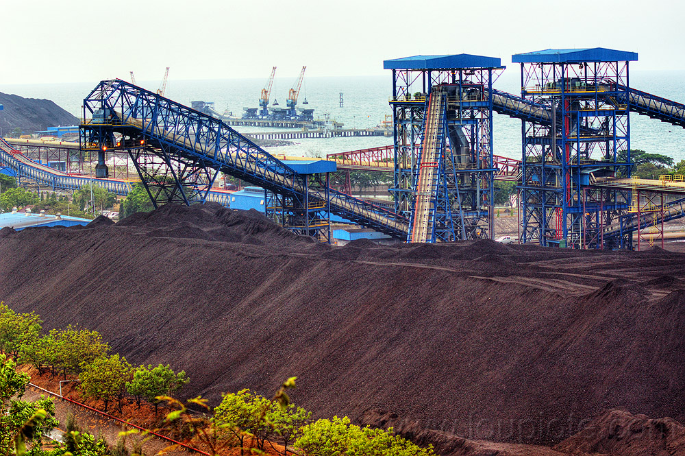 coal conveyors and stockpile, coal fired, electricity, energy, factory, heap, industrial, java, paiton, paiton complex, power, power generation, power station