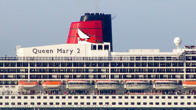 coast guard helicopter in front of cruise ship queen mary 2 in san francisco bay, aircraft, boats, chopper, cruise ship, cunard, helicopter, helo, qm2, queen mary 2, queen mary ii, san francisco bay, sf bay, ships, us coast guard, uscg