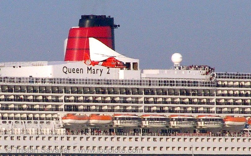 coast guard helicopter in front of cruise ship queen mary 2 in san francisco bay, aircraft, boats, chopper, cruise ship, cuise ship, cunard, helicopter, helo, qm2, queen mary 2, queen mary ii, san francisco bay, sf bay, ships, us coast guard, uscg