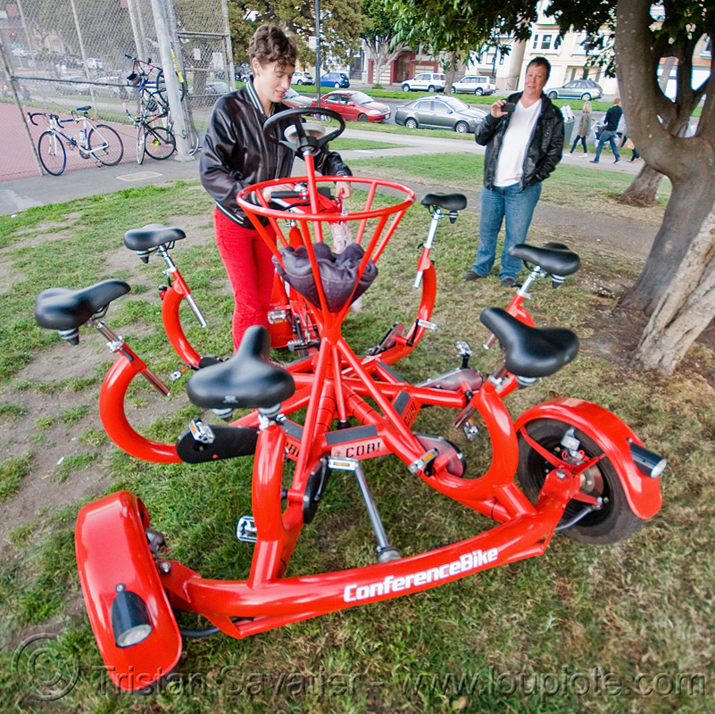 cobi - the conference bike, cobi bike, eric staller, grass, human powered, pedal powered, people, red, turf, vehicle