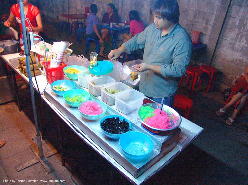 colorful desserts - thailand, desserts, dishes, street food, street seller, street vendor, sweets, thailand