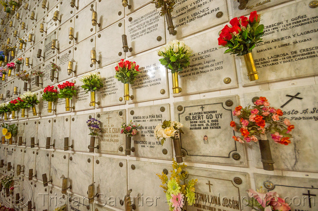 columbarium tombs - manila (philippines), cemetery, columbarium, flowers, graves, manila, marble, philippines, religion, san augustin church, tombs