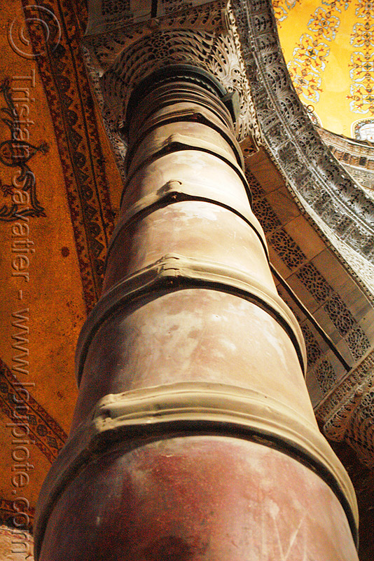 column reinforced with steel straps - hagia sophia, architecture, aya sofya, byzantine, church, clasps, column, consolidated, consolidation, hagia sophia, inside, interior, islam, mosque, orthodox christian, reinforcement, retrofit, steel, strapping, straps