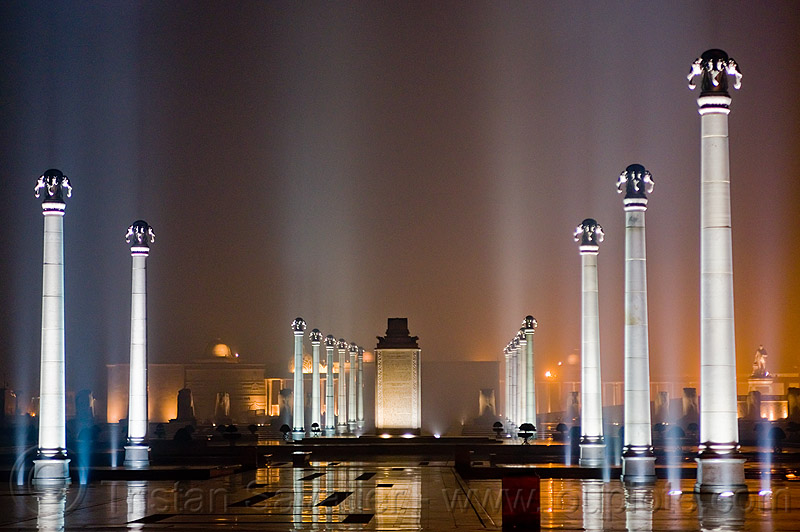column rows - ambedkar memorial, architecture, columns, dr bhimrao ambedkar memorial park, india, lucknow, monument, night