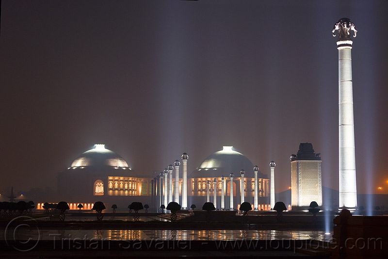 columns and dome monuments - ambedkar memorial, ambedkar park, architecture, domes, dr bhimrao ambedkar memorial, lucknow, monument, night