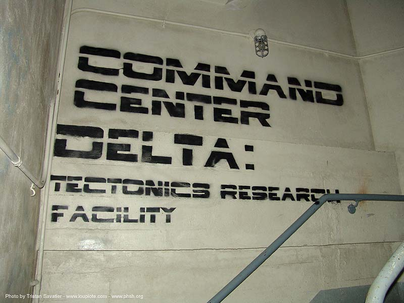command-center-delta - stencil - tectonics research facility - abandoned hospital (presidio, san francisco) - phsh, abandoned building, command center delta, decay, font, graffiti, presidio hospital, trespassing