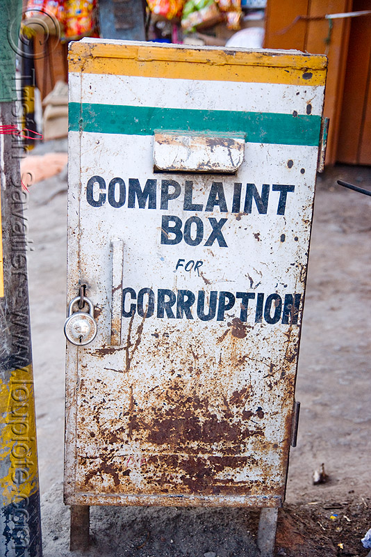 complaint box for corruption, anti-corruption, ladakh, leh, padlock, street, लेह