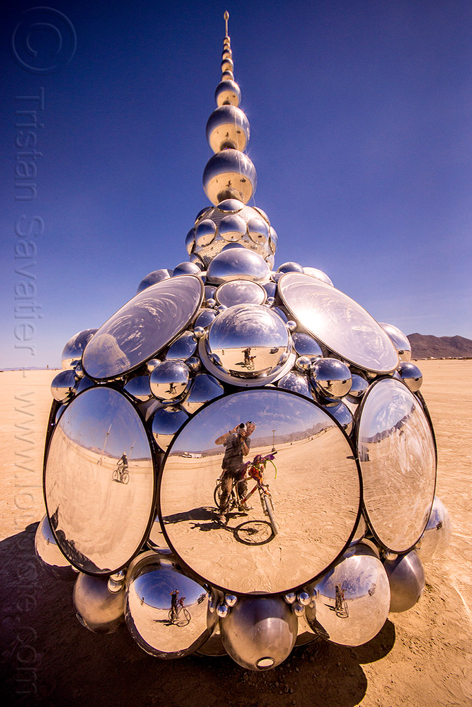 compound eye - burning man 2015, art installation, bicycle, burning man, compound eye, compound i, convex mirrors, kirsten berg, self portrait, selfie, tristan savatier