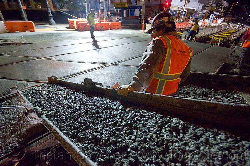 concrete chute, cement chute, concrete chute, high-visibility jacket, high-visibility vest, light rail, men, muni, night, ntk, railroad construction, railroad tracks, rails, railway tracks, reflective jacket, reflective vest, safety helmet, safety vest, san francisco municipal railway, track maintenance, track work, wet concrete, workers