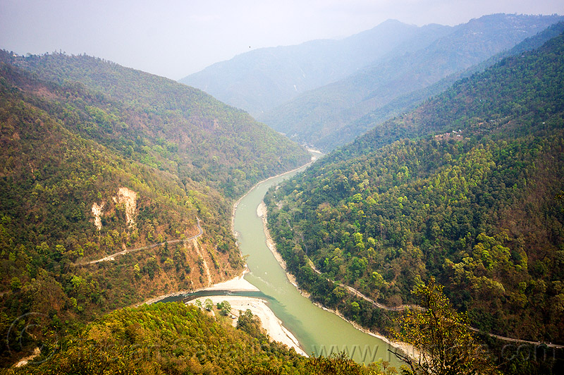 confluence of rangeet and teesta rivers (india), confluence, forest, hills, mountains, rangeet, rangit, rivers, teesta, tista river, water, west bengal