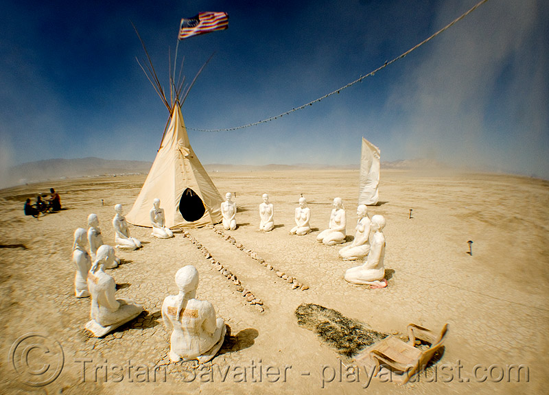 constitution tipi - burning man 2008, american, art installation, constitution tipi, fisheye, flag, playa, self evidence