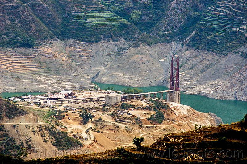 construction of the chanthi dobar suspension bridge over the bhagirathi river (india), artificial lake, bhagirathi valley, bridge tower, chanthi dobar bridge, infrastructure, mountains, reservoir, road, tehri lake, water
