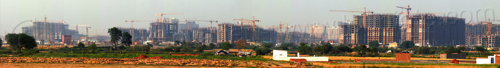 "construction of ""gaur city 1"" & ""gaur city 2"" - greater noida planned urban development project (india), building construction, buildings, construction cranes, gaur city, greater noida, panorama, planned city, urban development, urban planning"