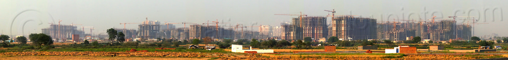 "construction of ""gaur city 1"" & ""gaur city 2"" in greater noida - planned urban development (india), building construction, buildings, construction cranes, gaur city, greater noida, panorama, planned city, urban development, urban planning"