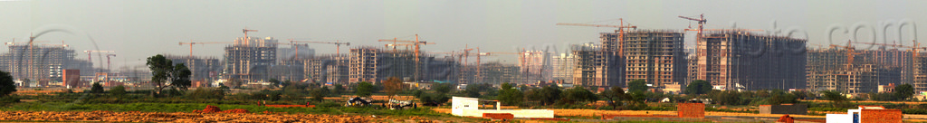 "construction of ""gaur city 1"" & ""gaur city 2"" in greater noida - planned urban development project (india), building construction, buildings, construction cranes, gaur city, greater noida, india, panorama, planned city, urban development, urban planning"